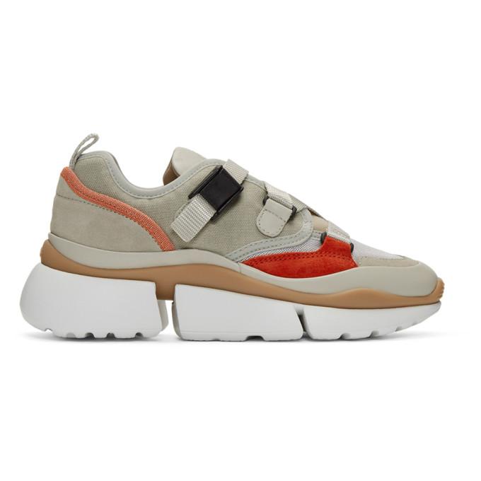 Chloe Beige and Orange Sonnie Sneakers