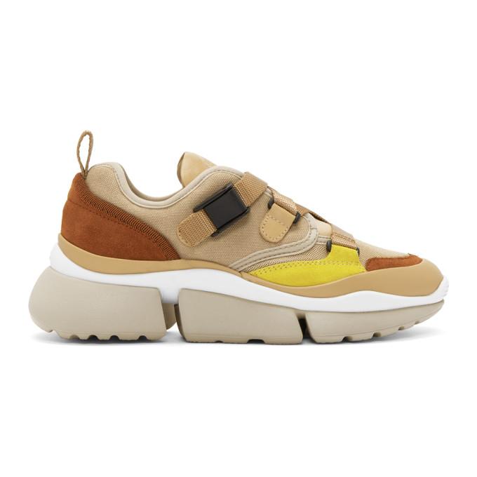 Chloe Tan and Beige Sonnie Sneakers