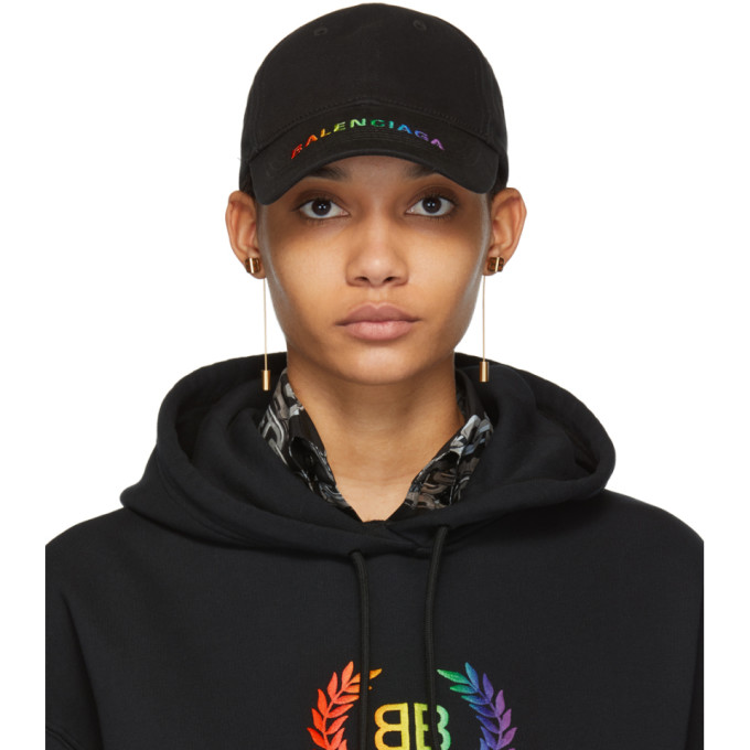 BALENCIAGA | Balenciaga Black Rainbow Logo Cap | Goxip