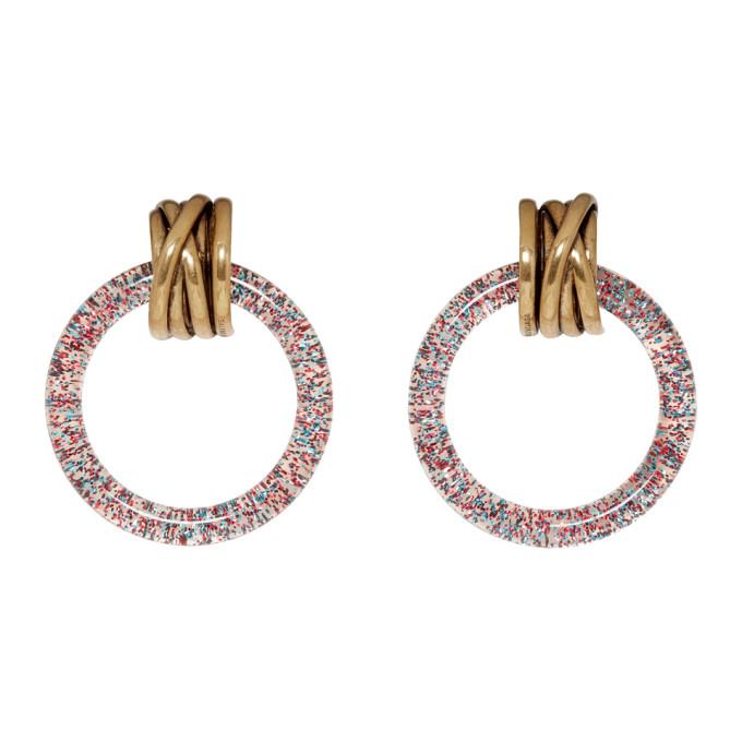 BALENCIAGA | Balenciaga Pink And Gold XS Hoop Earrings | Goxip