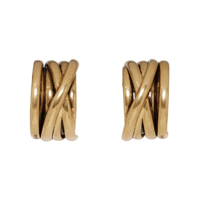 BALENCIAGA | Balenciaga Gold Multiring Single Loop Earrings | Goxip