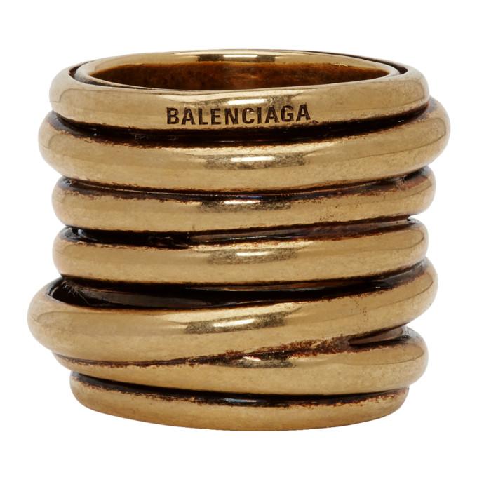 BALENCIAGA | Balenciaga Gold Multirings Ring | Goxip