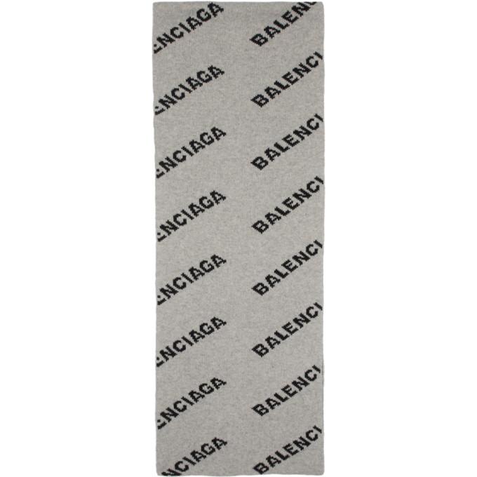 Balenciaga Foulard gris et noir Allover Logo