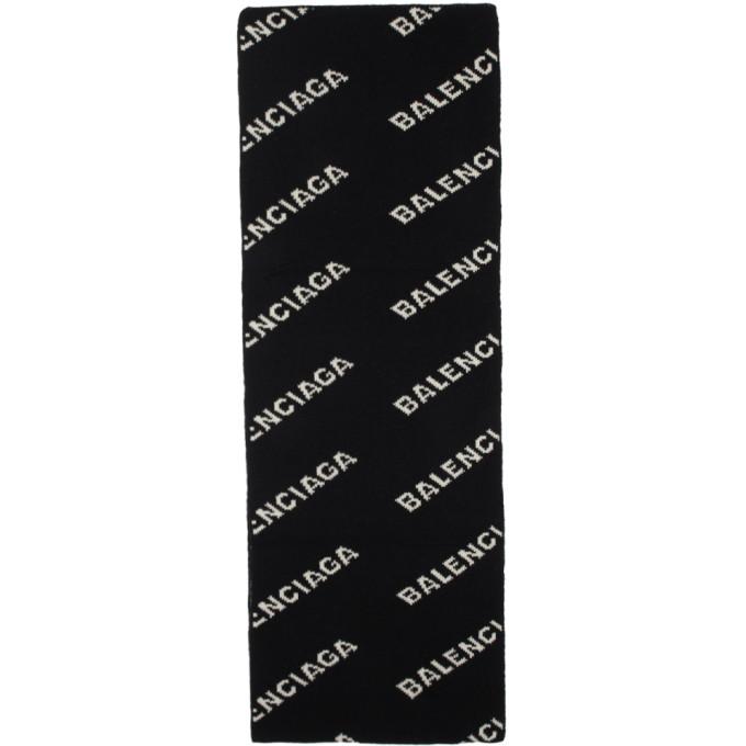 Balenciaga Foulard noir et blanc Allover Logo