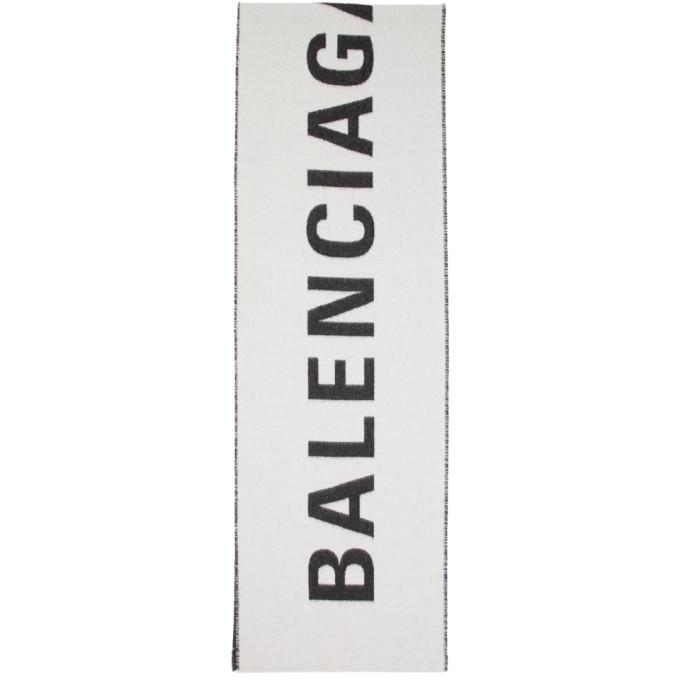 Balenciaga Foulard blanc et noir Archetype Jacquard Logo