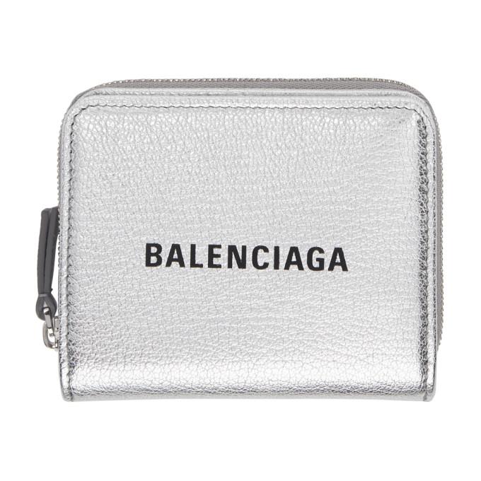Balenciaga シルバー and ブラック スモール スクエア ロゴ ウォレット