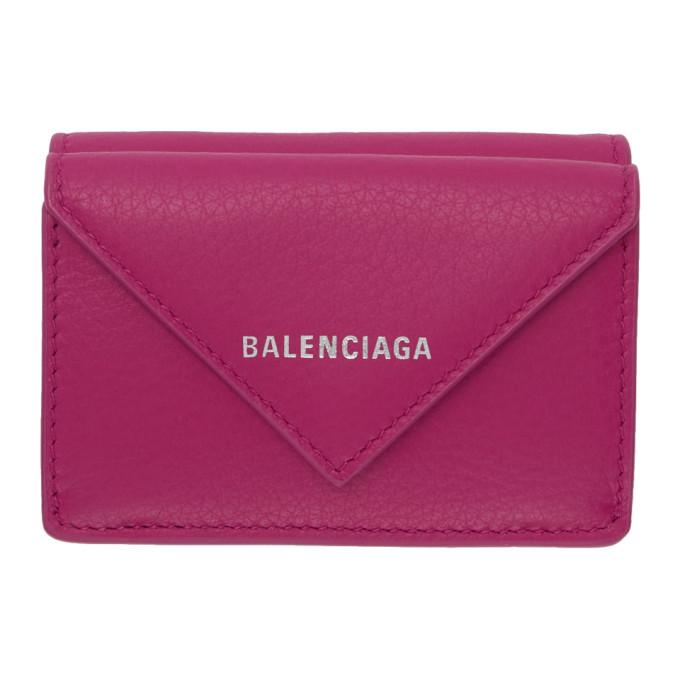 Balenciaga ピンク ミニ ペーパー ウォレット