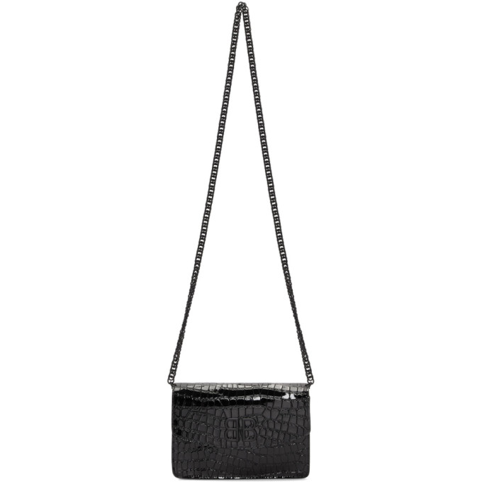 Balenciaga Black Patent Croc BB Wallet Chain Bag