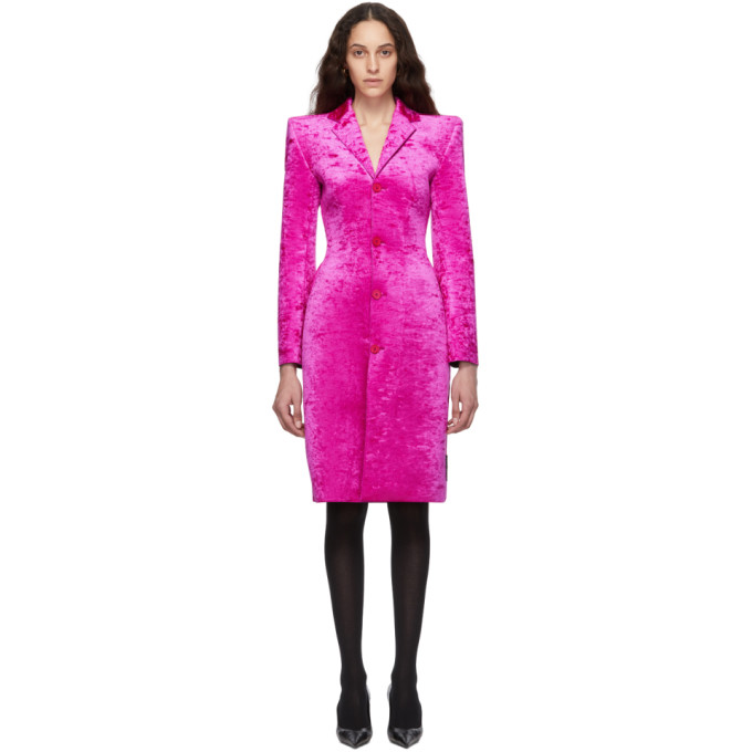 BALENCIAGA | Balenciaga Pink Crushed Velvet 3D Coat | Goxip