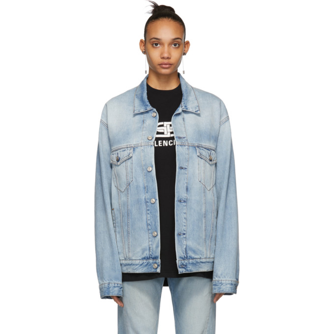 Balenciaga Denim Twill Oversized Jacket W/ Animal-Print Faux-Fur Lining In Blue