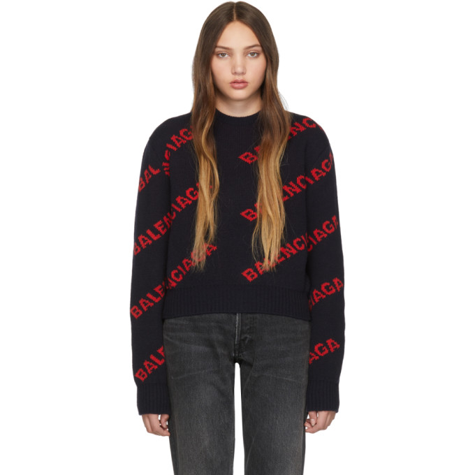 Logo-Jacquard Wool Sweater - Navy Size M in 9019 Nvy/Or