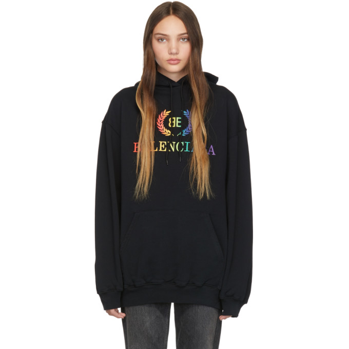100% quality best selling best choice Balenciaga Black Rainbow BB Hoodie 191342F09701205
