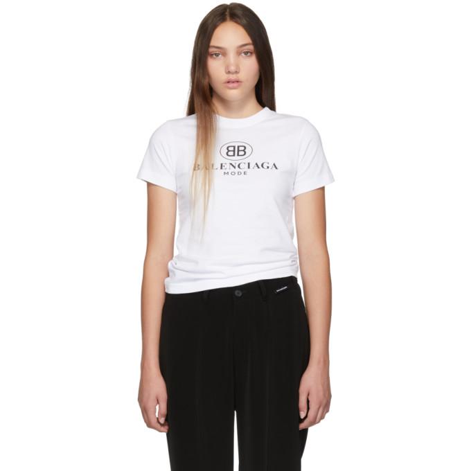 Balenciaga Women's White Logo-Print Cotton-Jersey T-Shirt In 9000 White