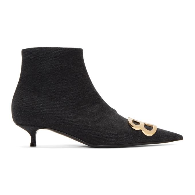 Balenciaga Black Denim Ankle Boots