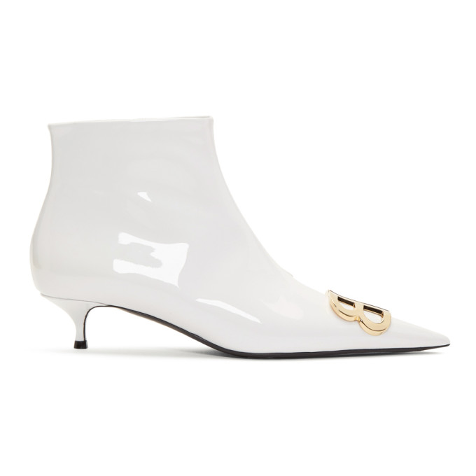 Balenciaga White Varnished Kitten Heel Boots