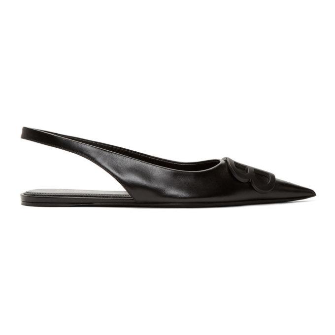 BALENCIAGA | Balenciaga Black BB Slingback Ballerina Flats | Goxip