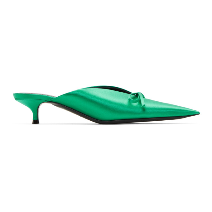 Balenciaga Green Satin Knife Mules