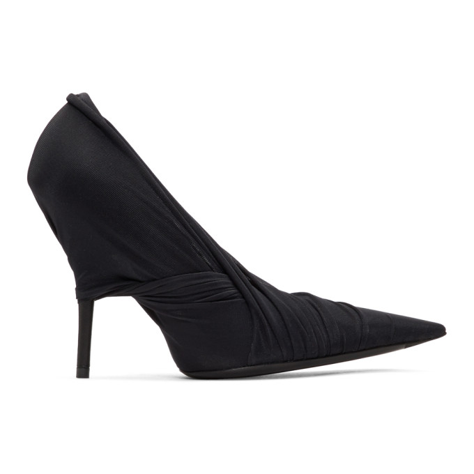 Balenciaga Black Jersey Wrap Heels