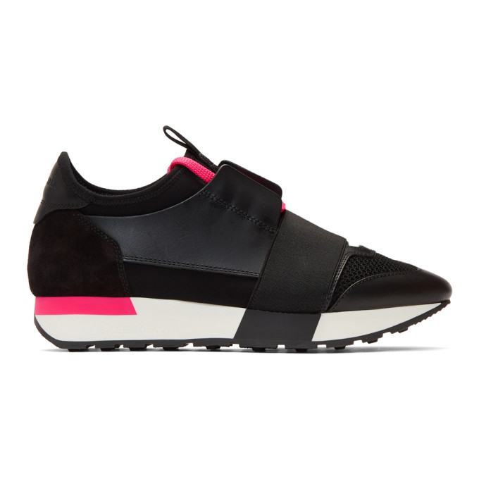 c4a2a8777145c Balenciaga Black and Pink Race Runner Sneakers