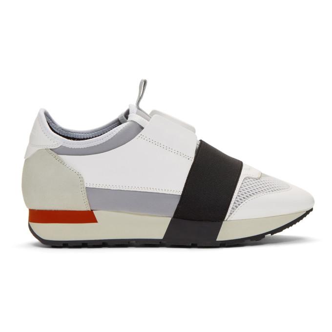 Balenciaga White & Red Race Sneakers