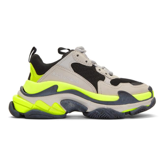 Balenciaga 'Triple S' Stack Midsole Mesh Sneakers In Grey