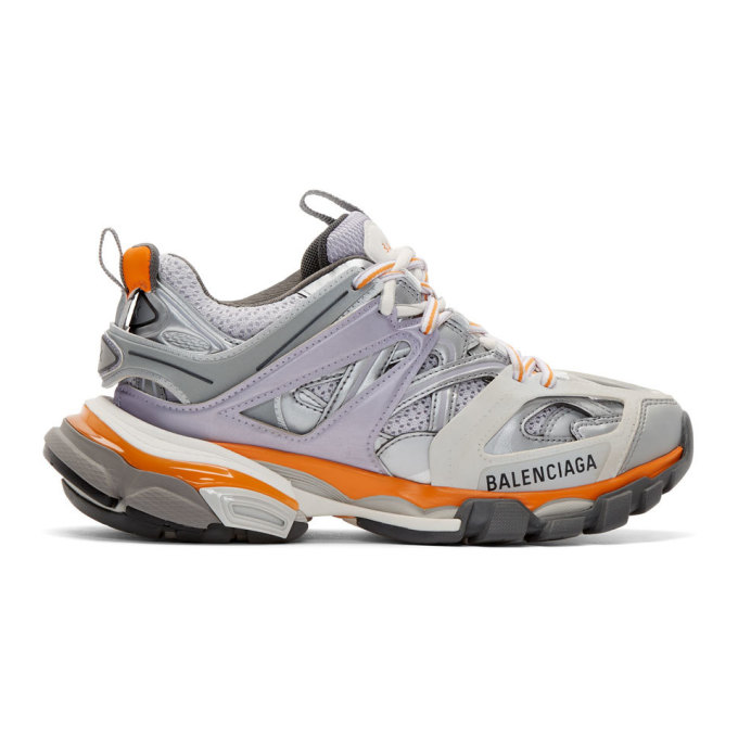 Balenciaga Grey and Purple Track Sneakers