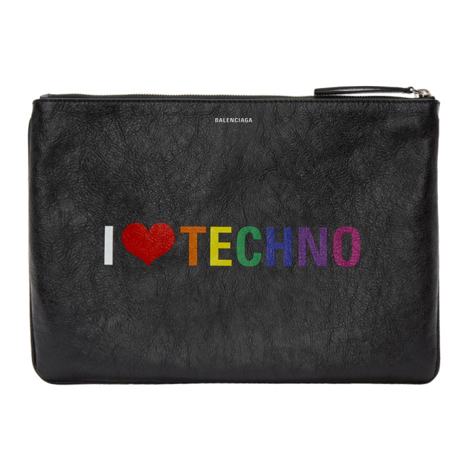 Balenciaga Black 'I Love Technology' Pouch
