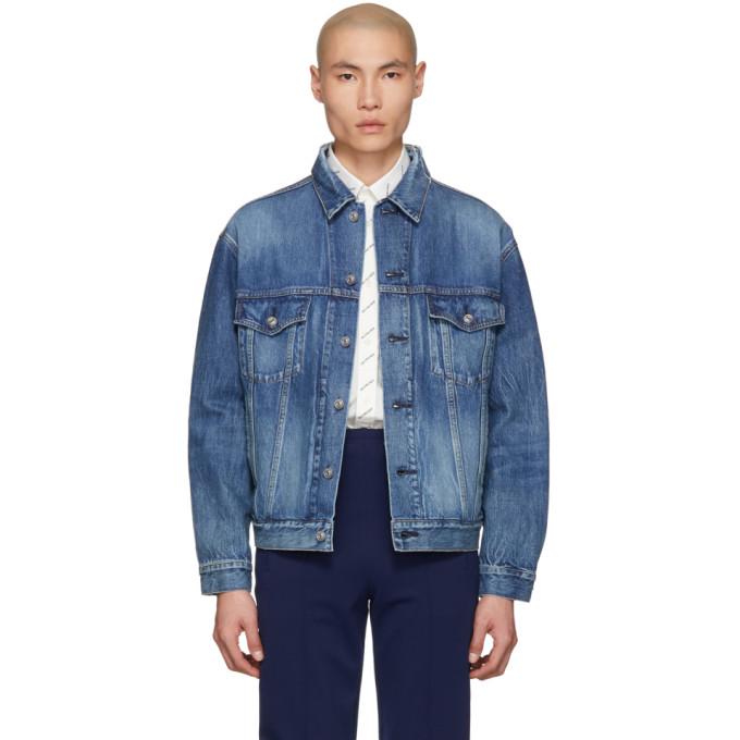 Balenciaga ブルー デニム ロゴ ジャケット