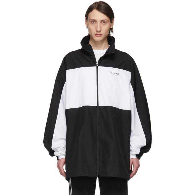 BALENCIAGA | Balenciaga Black And White Zip-Up Jacket | Goxip
