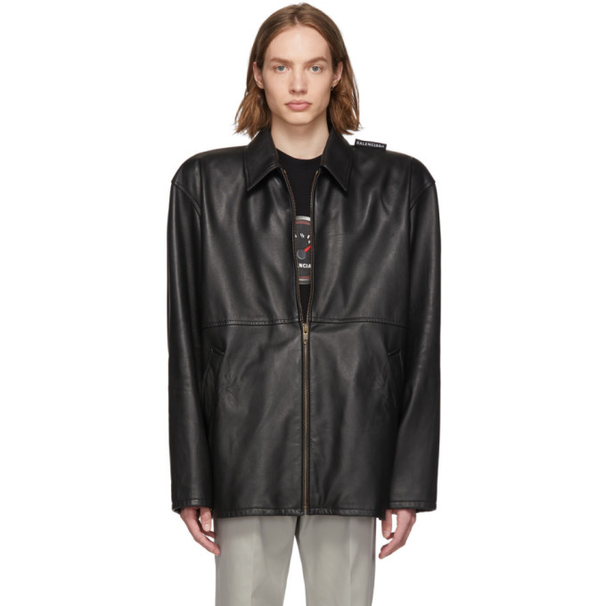 Balenciaga ブラック レザー タトゥー ジャケット