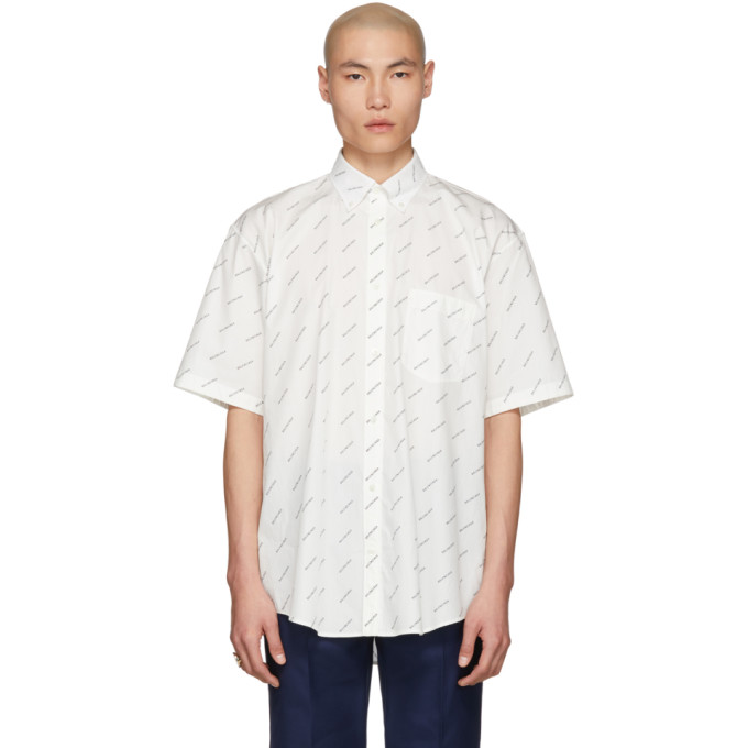 3e13f5cca4d9 Balenciaga Logo-Print Cotton-Poplin Shirt In White   ModeSens