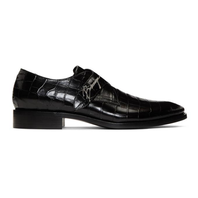 Balenciaga Black Croc Monkstraps