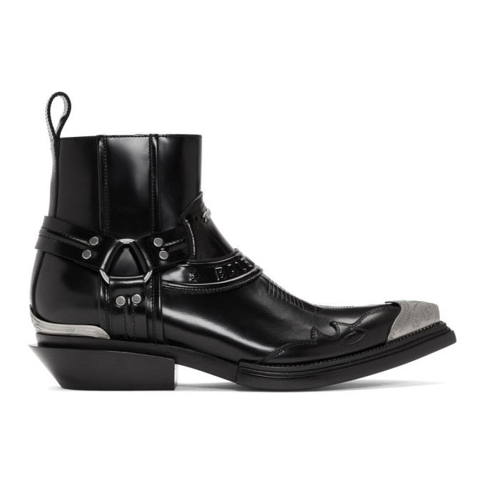 BALENCIAGA   Balenciaga Black Santiag Harness Boots   Goxip