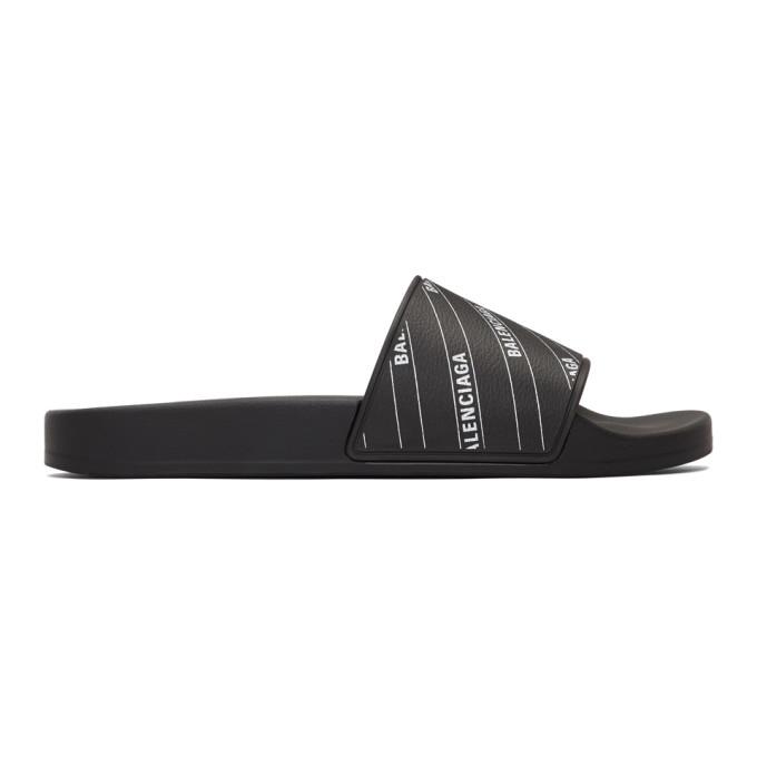 BALENCIAGA | Balenciaga Black And White Stripe Logo Piscine Slides | Goxip