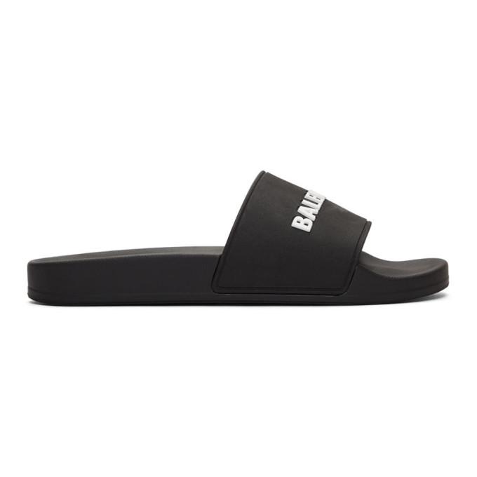 BALENCIAGA | Balenciaga Black Logo Sandals | Goxip