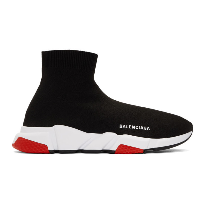 821d45a5eb Balenciaga Men's Speed Mid-Top Trainer Sock Sneakers, Black/Red In ...