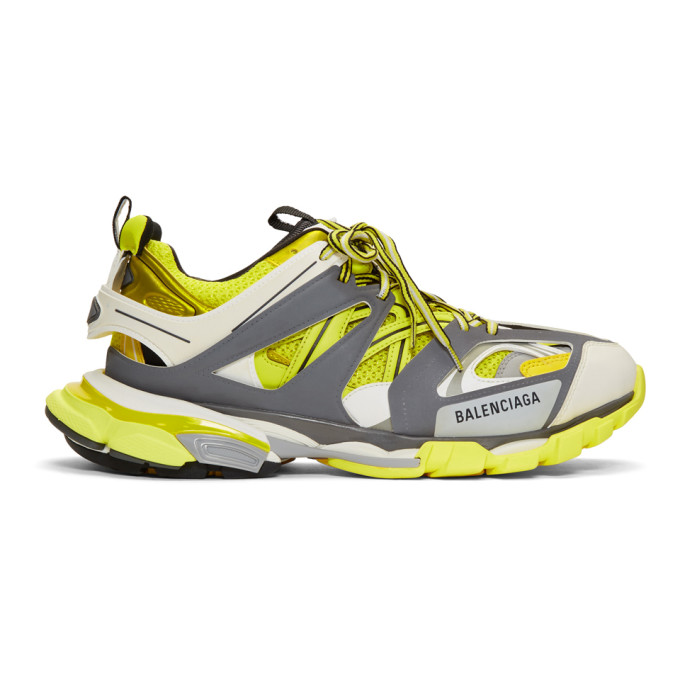 Balenciaga Track Nylon, Mesh And Rubber Sneakers In 7184Jaune/