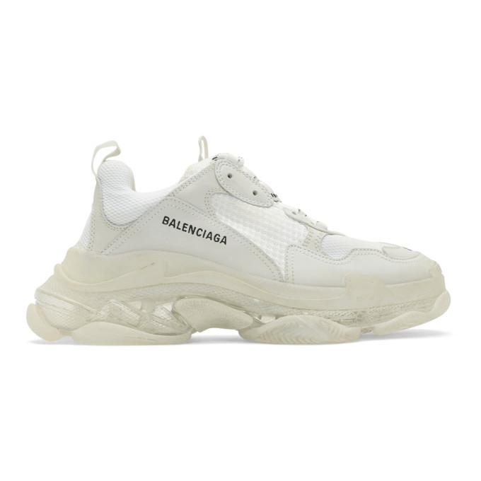 Balenciaga White Triple S Clear Sole Sneakers