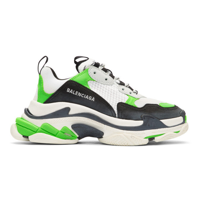Balenciaga White & Green Triple S Sneakers