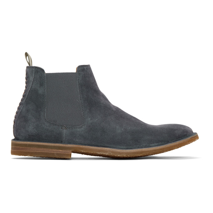 Officine Creative Blue Suede Waldorf 6 Chelsea Boots