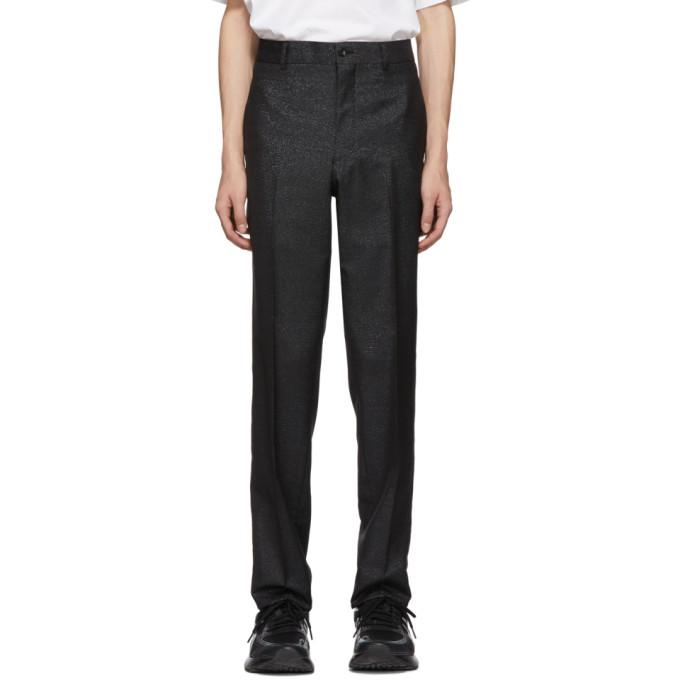 Image of Comme des Garçons Homme Plus Black & Blue Lamé Trousers