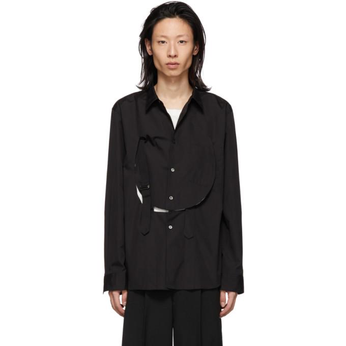 Image of Comme des Garçons Homme Plus Black Cotton Bib Shirt