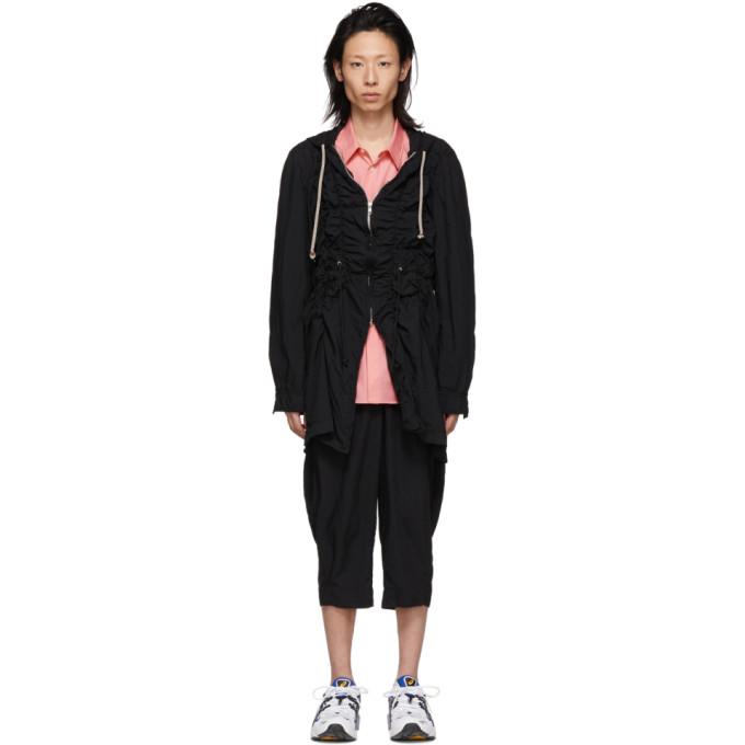 Image of Comme des Garçons Homme Plus Black Broadcloth Ruched Coat