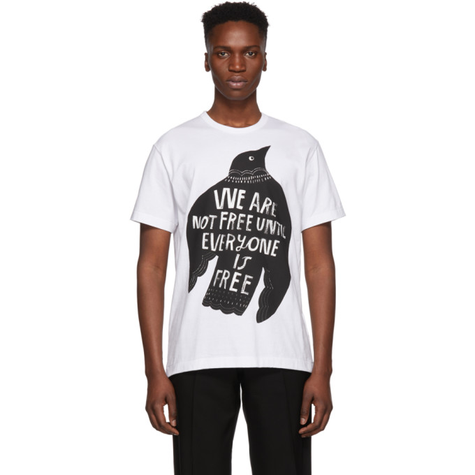 Comme des Garcons Homme Plus ホワイト We Are Not Free T シャツ