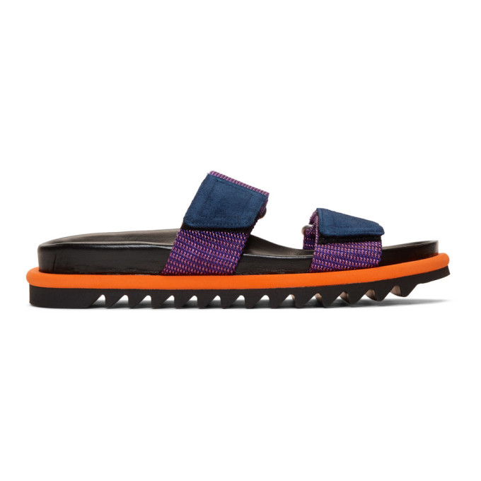 Dries Van Noten Purple Velcro Slides