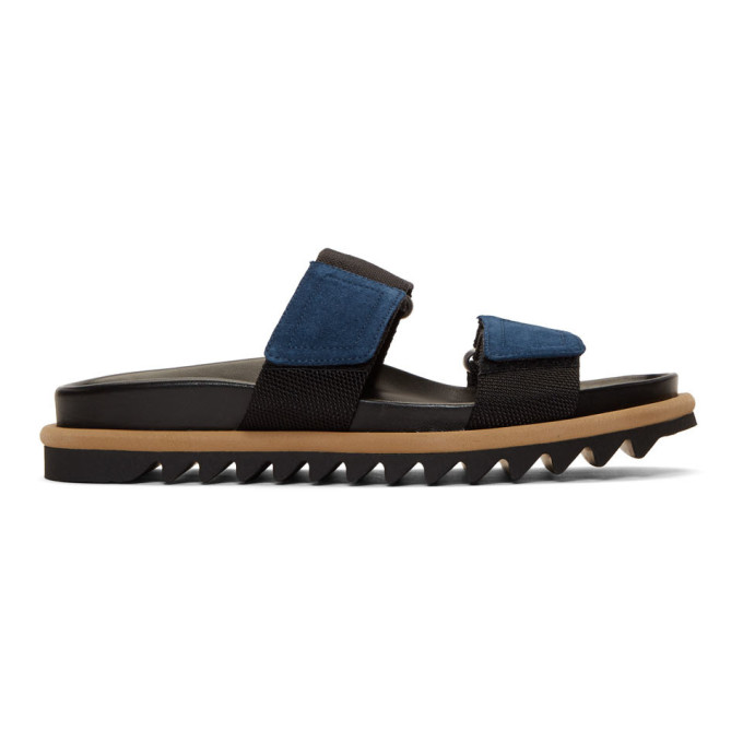Dries Van Noten Black Strap Slide Sandals