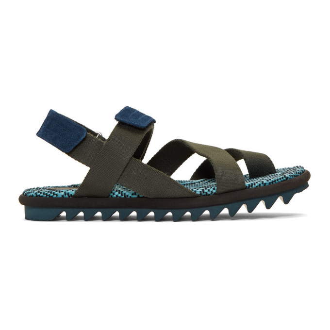 Dries Van Noten Khaki & Blue Criss-Cross Sandals