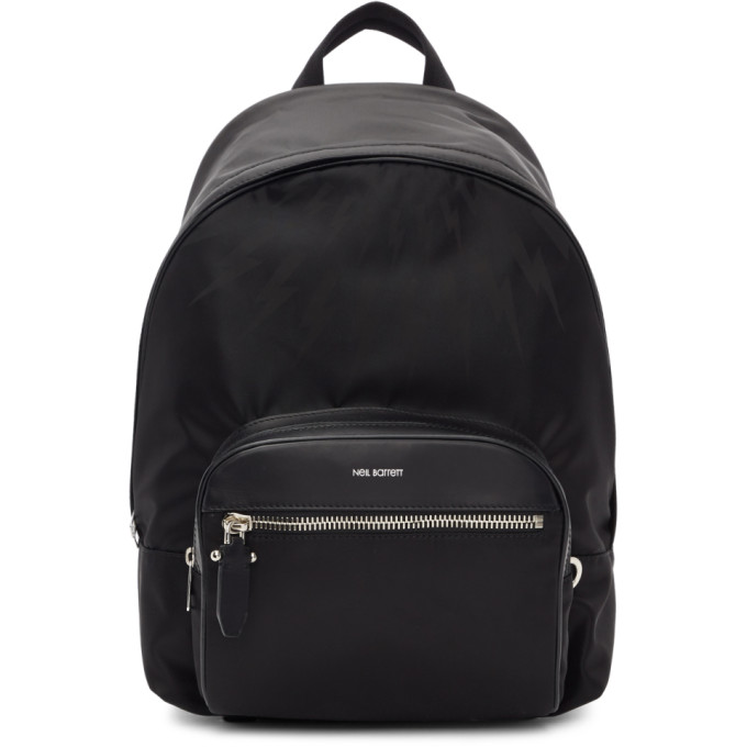 Neil Barrett Black Tonal Bolt Backpack
