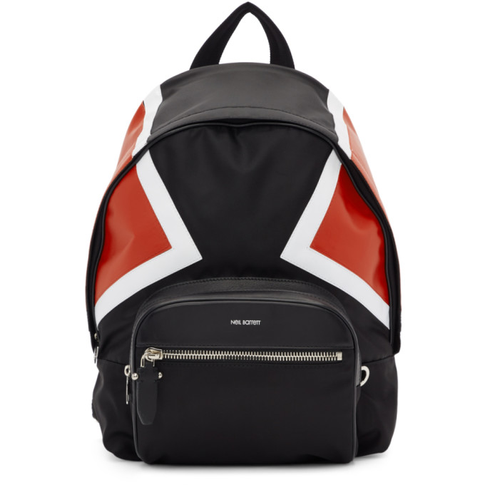 Neil Barrett Black & Red Contrast Detail Backpack