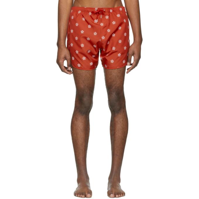 Neil Barrett Maillot de bain rouge et blanc Pattern